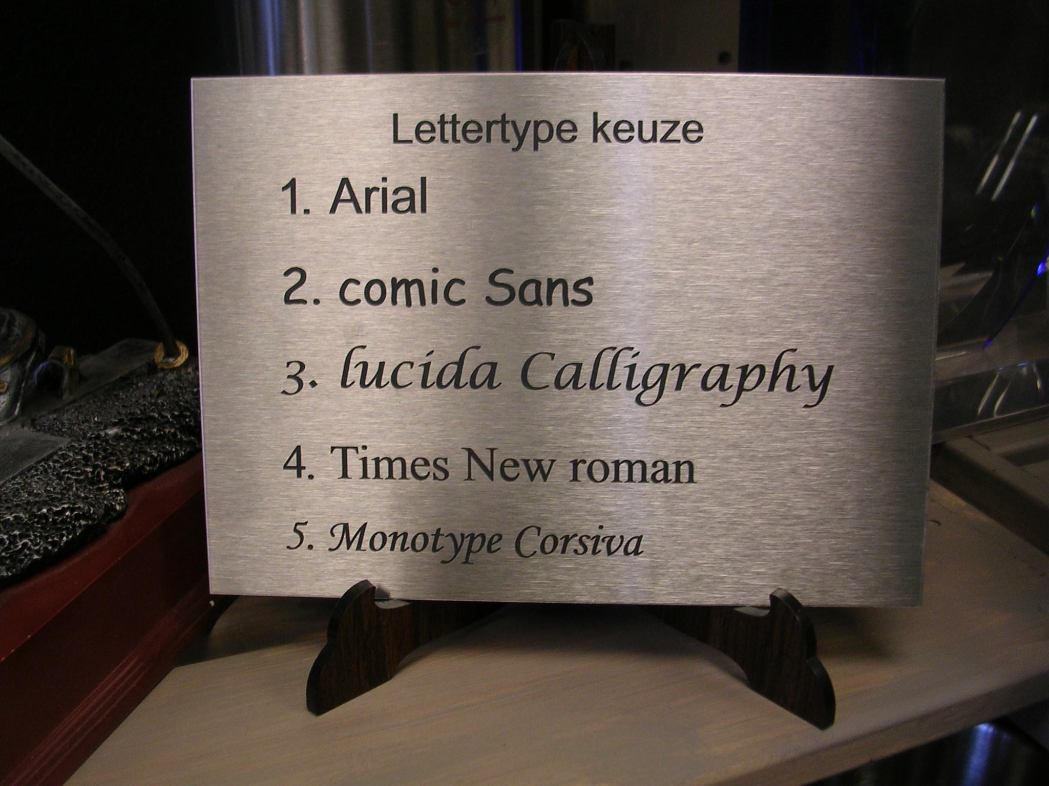 Lettertype keuze